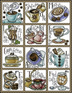 Cross-stitch pattern FREE download as PDF file with coffee break