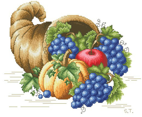 Cross-stitch pattern FREE download as PDF file with still life by fruits