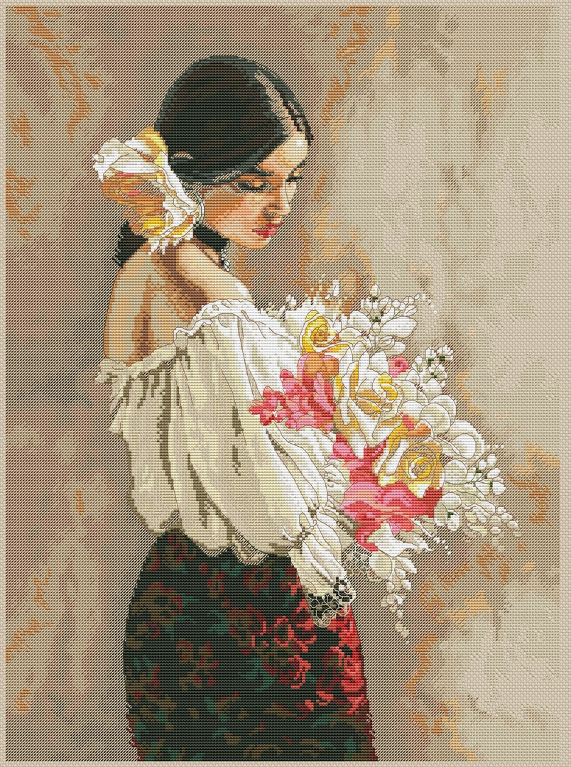 Counted Cross Stitch Kit to embroider beautiful woman with flowers
