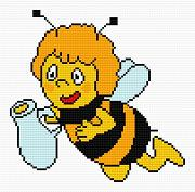 Cross-stitch pattern FREE download as PDF file with Maya the bee