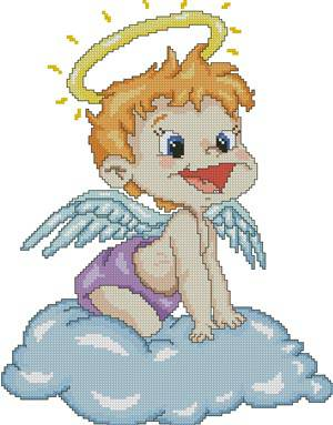 Cross-stitch pattern FREE download as PDF file with little angel