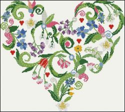 Cross-stitch pattern FREE download as PDF file with heart of flowers