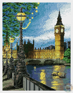 Cross-stitch pattern FREE download as PDF file with London city